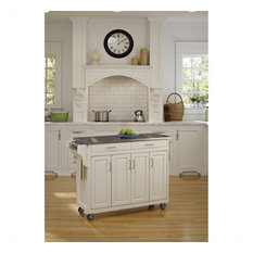Homestyles Create-a-Cart Wood Kitchen Cart with Stainless Steel Top in White
