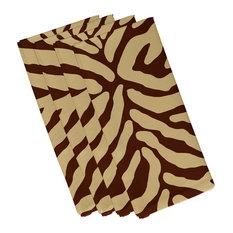 Animal Stripe, Print Napkin, Set of 4, Brown