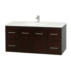"Centra 48"" Espresso Single Vanity, Countertop, Undermount Square sink, No Mirror"