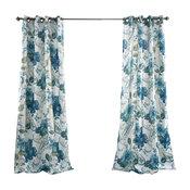 Floral Paisley Window Curtain Set, Blue
