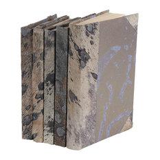 Metallic Hide Books, Grey, Set of 5