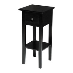 Narrow Side Table in Antique Black Finish