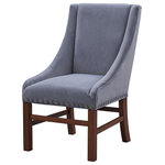 Coast to Coast Imports - Accent Dining Chair, Blue/Grey - Perfect for your desk, around your dining table, or with your vanity, our accent chair has the details you will love. Expertly upholstered in Carson Grey fabric with a single welt trim and with low curved sides that were built for comfort. Wooden legs and crossbars are finished in Sierra Brown which emphasizes the antiqued brass nailhead trim that encircles the lower edges. A timeless look.