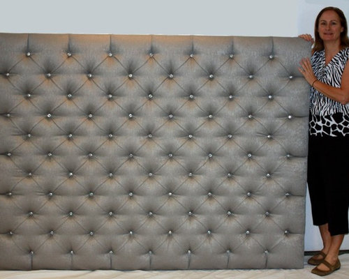 King Large Upholstered Headboard Diamond Tufted With