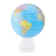 """MOVA 8.5"""" Blue Ocean Political Revolving Globe With Large Crystal Base"""