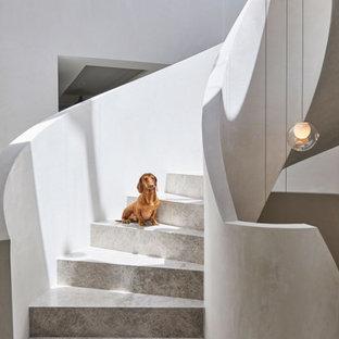 Esempio di un'ampia scala a chiocciola minimalista con pedata in pietra calcarea e alzata in pietra calcarea