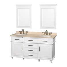 "Wyndham Collection 60"" Berkeley White Double Vanity With Ivory Marble Top"