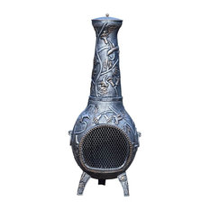 Oakland Living - Tall Chimenea, Antique Pewter - Chimineas