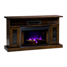 Cozy Glow Electric Fireplace, Quarter Sawn White Oak Wood With Cherry Stain