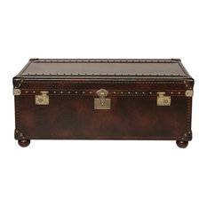 Lazzaro Leather Inc   Lazzaro Leather Campania 2 Drawer Steamer Cocktail,  Reddish Brown   Coffee