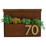 Urban Mettle - You've Got Mail Mailbox 2.0 With Numbers, Rust With Brass Numbers, Two Numbers - Welcome Home. Create instant curb appeal with this unique mailbox with planter box for seasonal flowers or colorful succulents. It adds flair and style to the facade of your home with sleek aluminum address numbers.