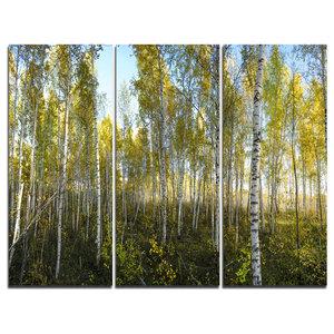 """Green Autumn Trees"" Photo Canvas Print, 3 Panels, 36""x28"""