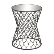 Classic Style Metal Mirror Round Accent Table Home Decor