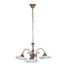Cast Brass and Ceramic 3-Bulb Pendant Light