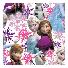 Disney Frozen Anna and Elsa Pink and White Wallpaper, Roll