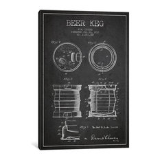 """Beer Keg Patent Blueprint"" by Aged Pixel, 40""x26""x.75"""