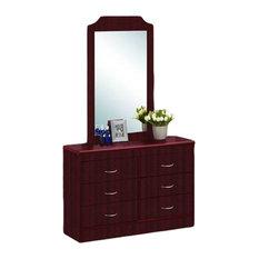 6-Drawer Dresser With Mirror, Mahogany