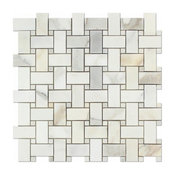Calacatta Gold 1x2 Basketweave Mosaic With Gold Dots, Polished, From Italy
