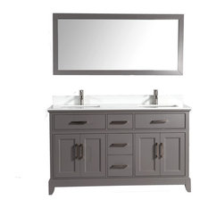 "60"" Vanity Set With White Stone, Gray, Standard Mirror"