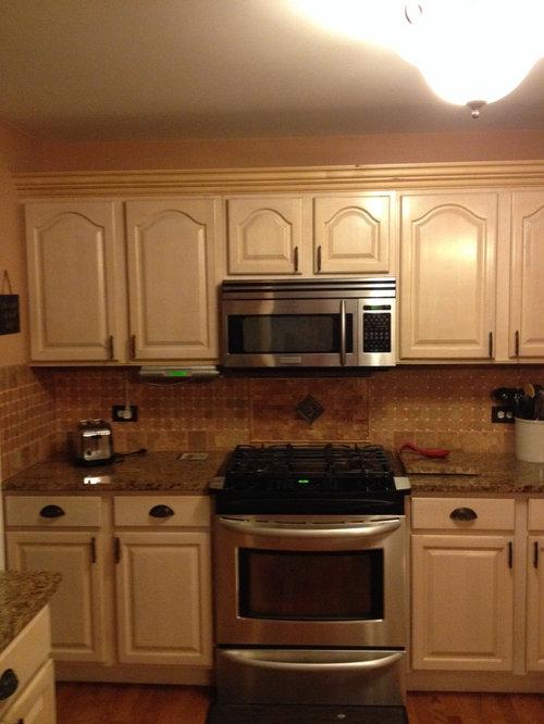 Pickled pink kitchen cabinets