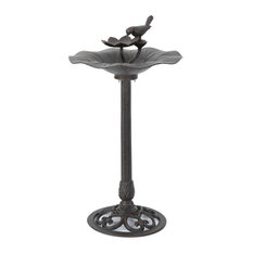 GDF Studio Lancaster Outdoor Bronze Aluminum Top Bird Bath With Iron Base