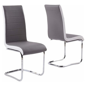 Modern Set of 2 Chairs Upholstered, Faux Leather With Chrome Plated Base, Grey