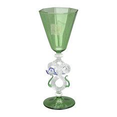 Murano Glass Museum Goblet, Small Green and Cristallo