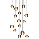 Lightupmyhome - Orion 14-Light Floating Glass Globe LED Chandelier - Fourteen 20W G4 LED light bulbs included, This light does not dominate a room and is meant to create a candle light halo effect