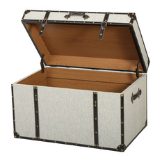 gdfstudio clarkson gray upholstered storage trunk decorative trunks - Decorative Storage Trunks