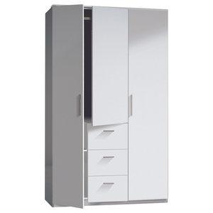 Warda 3 Doors and 3 Drawers Wardrobe, White