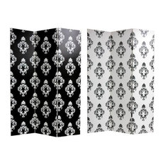 Double Sided Black & White Damask Canvas Room Divider
