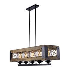 LNC Farmhouse Wood Chandeliers 5-light Kitchen Island Lighting