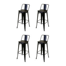Industrial Stylish Bar Stools, Metal Frame, Black, Set of 4