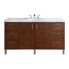 Metropolitan Modern Single Vanity, Walnut, No Countertop, No Mirrors