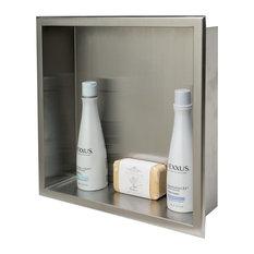 ALFI Brand 16 x 16 Brushed Stainless Steel Square Single Shelf Bath Shower Niche
