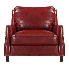 Oliver Pierce - Braxton 100% Top Grain Italian Leather Club Chair - Armchairs and Accent Chairs