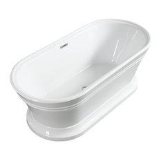 """Vanity Art Free Standing Acrylic Bathtub, 59"""""""