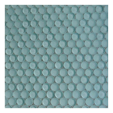 Contempo Penny Round Glass Tile, Light Green