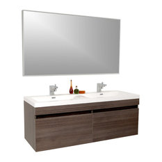 "56.63"" Largo Vanity, Wavy Double Sinks, Gray Oak, Bevera Chrome Faucet"
