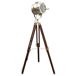 Shutter Brown Nickel Living Room Tripod Floor Lamp