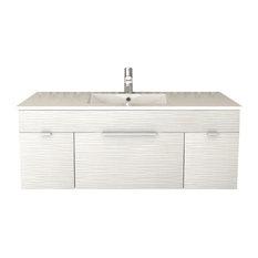 """Textures Floating 2-Door 1-Drawer Bathroom Vanity, Contour White, 48"""""""
