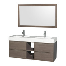"Daniella 60"" Double Vanity 58"" Mirror Acrylic-Resin Top Integrated Sink Gray Oak"