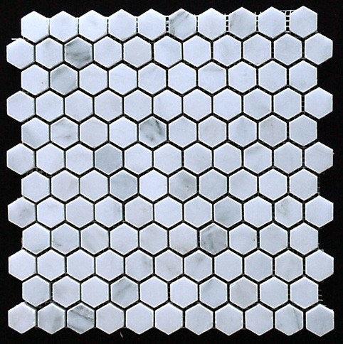 """Calacatta 1/2"""" Hexagon Mosaic - Tile"""