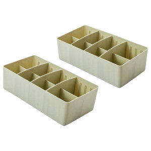 Adjustable 8-Compartment Drawer Storage Boxes, Set of 2, Light Green