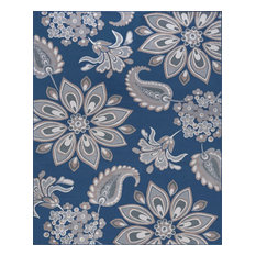 Matilda Transitional Floral Area Rug, Navy, 8'x10'