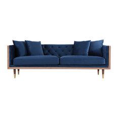 Kardiel Woodrow Neo Classic Midcentury Modern Sofa, Persian Seat, Walnut Base
