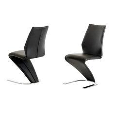 Penn Modern Black Leatherette Dining Chair, Set of 2