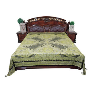 Mogul Interior - Mogul Pashmina Wool Blanket Throw Moroccan Green Bedding Coverlet - Throws