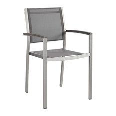 Shore Outdoor Patio Aluminum Dining Chair, Silver Gray