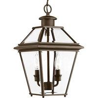 "Progress Burlington 2-Light 9"" Outdoor Hanging Lantern, Bronze/Clear"